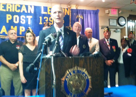 "Florida Gov. Scott held a news conference at Tampa's American Legion Post 139 to announce Congress will schedule a ""field hearing"" on VA care in Florida."