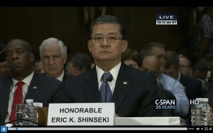 A screen capture of VA Secretary Eric Shinseki testifying before the Senate Committee on Veterans Affairs.