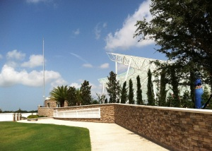 Patriot Plaza with its 80-foot stainless steel flag pole sits on 1.8 acres adjacent to the Sarasota National Cemetery columbarium.