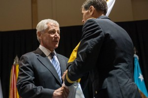 TAMPA, Fla. (Aug. 28, 2014) -- Secretary of Defense Chuck Hagel attends a Change of Command ceremony for U.S. Special Operations Command at the Tampa Convention Center in Tampa, Fla. August 28, 2014. DoD photo by Petty Officer 2nd Class Sean Hurt/Released