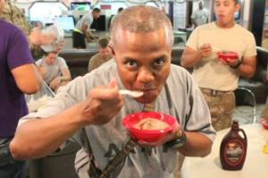 Troops enjoy making homemade ice cream at USO Camp Marmal. Courtesy USO Blog