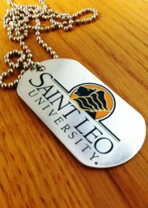The Saint Leo University Veteran Student Services office hands out dogtags celebrating their student veterans.