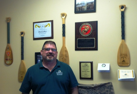 "Tedd ""Gunny""Weiser has an impressive display of Marine Corps memorabilia on his office wall."