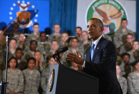 President Obama speaking to 1,200 service members at MacDill Air Force Base, Sept. 17, 2014. Photo credit: USMC Sgt. Frederick Coleman, US Central Command.