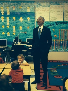 President Obama speaking to first graders at Tinker Elementary School on MacDill AFB. Photo credit: pool