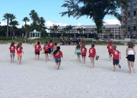 One of the groups from the TAPS Good Grief Camp in St. Pete Beach, FL for 170 children who a military service member or recent veteran who died by suicide.