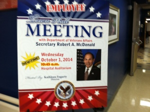 "A poster inside Tampa's James A. Haley VA announcing Wednesday's Town Hall meeting with the new secretary, Robert ""Bob"" McDonald. Credit Bobbie O'Brien / WUSF Public Media"