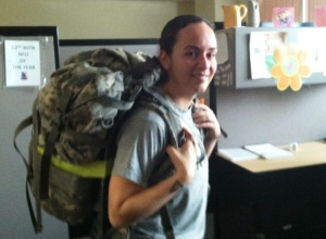 "Florida National Guard SSG Aidana Baez with her practice ""ruck"" weighing 45 pounds - 10 more pounds that in competition - for training marches."
