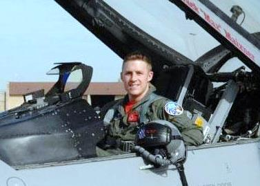 Capt. James Steel in his F-16. Photo courtesy U.S. Air Force.
