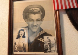 John Tedesco as a  US Navy Seaman First Class in WWII - notice the photo of Joan tucked into the left corner.