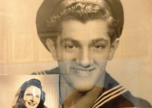 John Tedesco while serving in the Navy during WWII. In the left corner, a photograph of his then girlfriend, now, wife of 67 years.