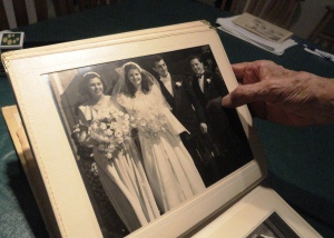 A photo of Joan and John Tedesco's wedding in October 1947.
