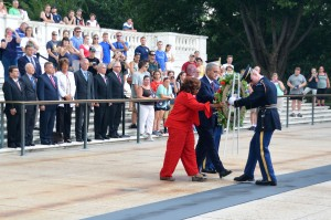 Rep. Corrine Brown (FL-D) and Rep. Jeff Miller (FL-R) assist with the wreath presentation Monday, July 27, 2015. Photo courtesy of the House Committee on Veterans Affairs.
