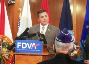 Mike Prendergast, executive director of the Florida Department of Veterans' Affairs, at a 2012 news conference in Tallahassee. Photo courtesy of Steven Rodriguez, WFSU.