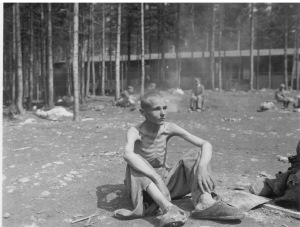 Liberated prisoner at the Ebensee concentration camp on 8 May 1945. Credit Photo by T/S J. Malan Heslop, 167th Signal Photographic Company / Source U.S. National Archives