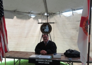 Pasco Circuit Judge Shawn Crane brought the Veterans Treatment Court to the Stand Down to assist veterans with pending cases.