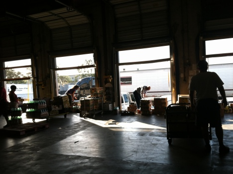 The loading docks at Feeding Tampa Bay which provides about 65 percent of all the food at soup kitchens, church pantries and other charitable food programs in a 10-county region.