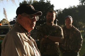 WWII veteran Tracy Taylor, in the foreground, talked for about an hour with the younger veterans before going on the hunt.