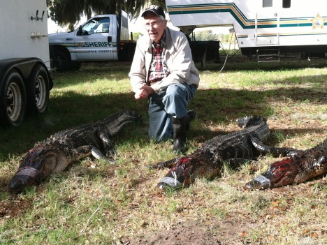 WWII veteran and former POW Tracy Taylor was invited to join veterans from the Iraq and Afghanistan wars in a gator hunt.