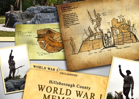 Artistic concepts of the World War I Memorial being dedicated at Hillsborough County's Veterans Memorial Park on Saturday.
