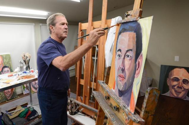 Former President George W. Bush painting one of 66 portraits he produced for his new book. Photo courtesy of The Bush Center.